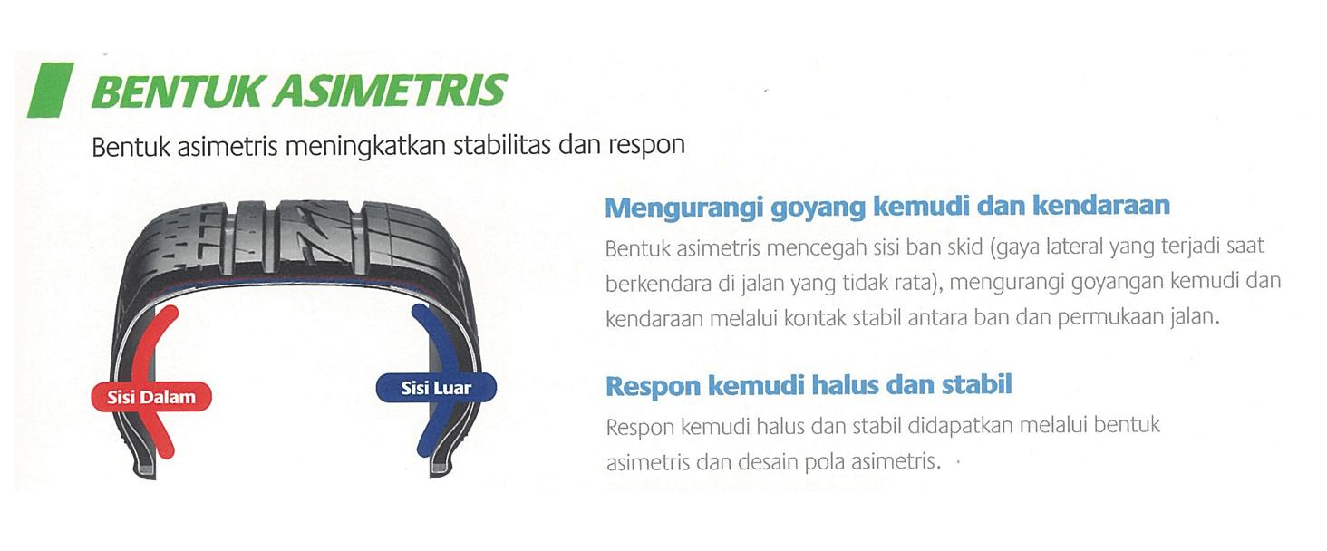Bentuk Ban Mobil Bridgestone MPV 1 yang Asimetris